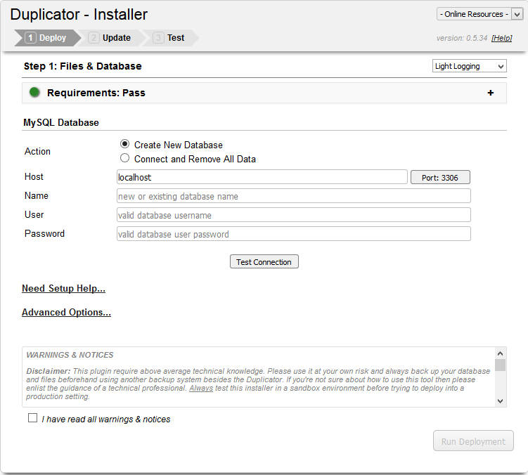 Wordpress Duplicator plugin - deployment screen
